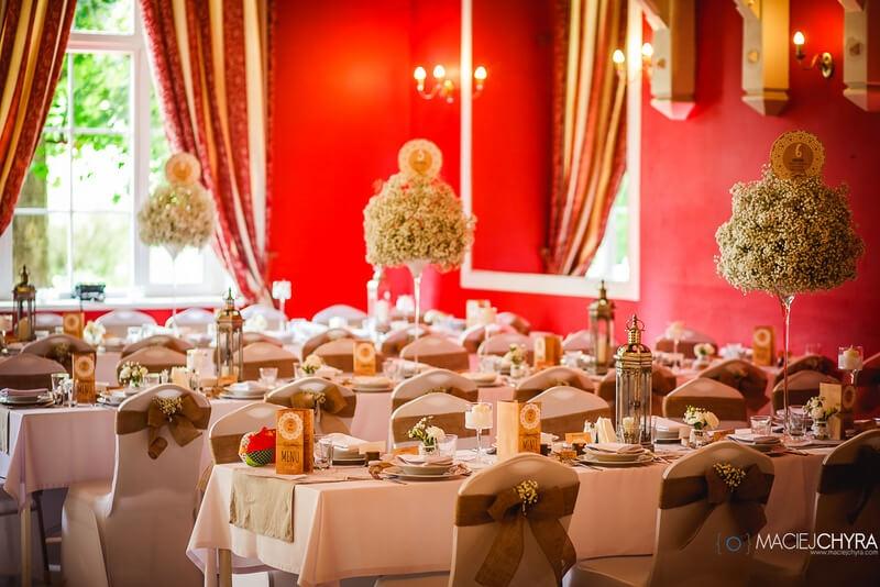 złote ozdoby wesele